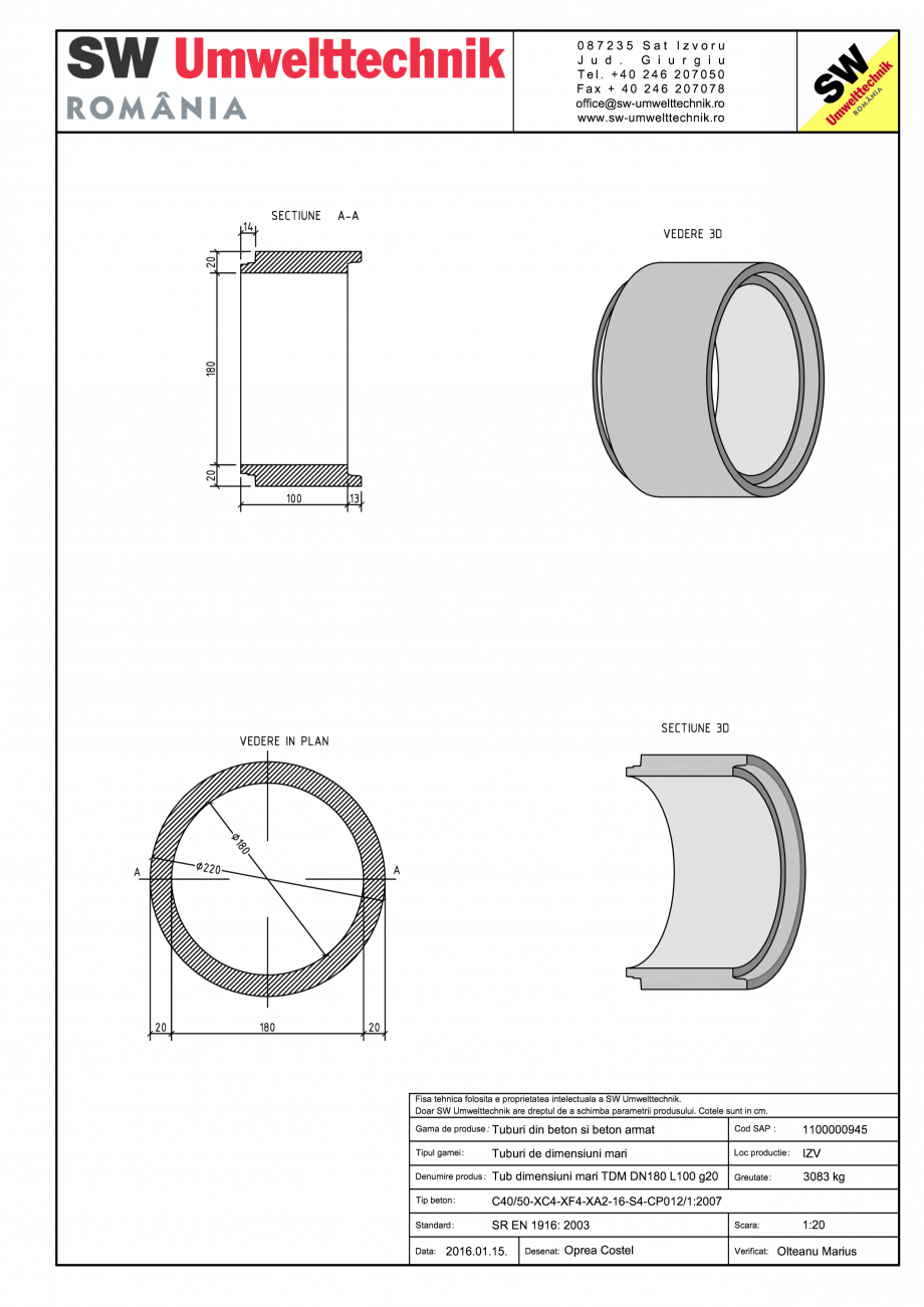 Pagina 1 - CAD-PDF Tub dimensiuni mari TDM DN180 L100 g20 SW UMWELTTECHNIK Detaliu de produs