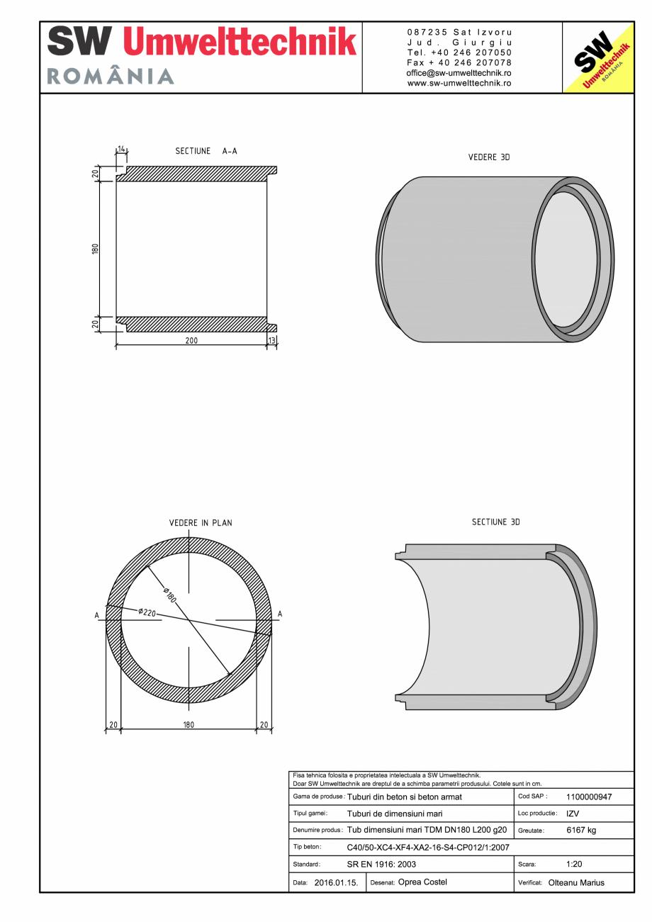 Pagina 1 - CAD-PDF Tub dimensiuni mari TDM DN180 L200 g20 SW UMWELTTECHNIK Detaliu de produs