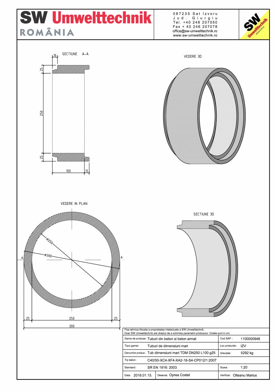 Pagina 1 - CAD-PDF Tub dimensiuni mari TDM DN250 L100 g25 SW UMWELTTECHNIK Detaliu de produs