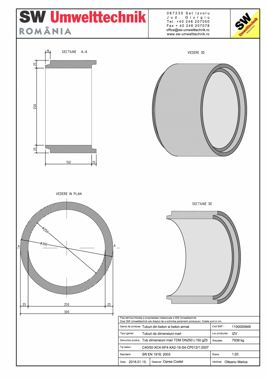 Pagina 1 - CAD-PDF Tub dimensiuni mari TDM DN250 L150 g25 SW UMWELTTECHNIK Detaliu de produs