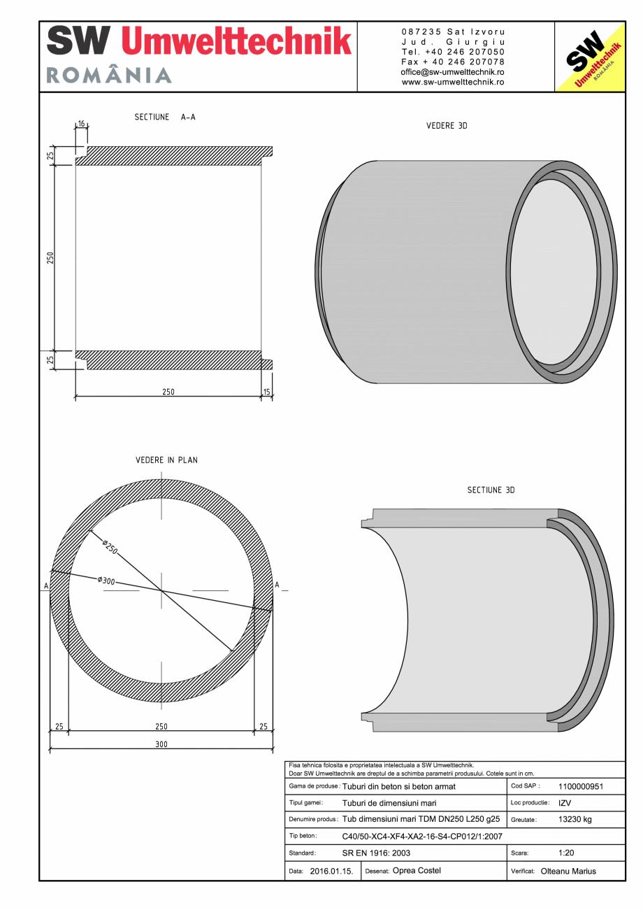 Pagina 1 - CAD-PDF Tub dimensiuni mari TDM DN250 L250 g25 SW UMWELTTECHNIK Detaliu de produs