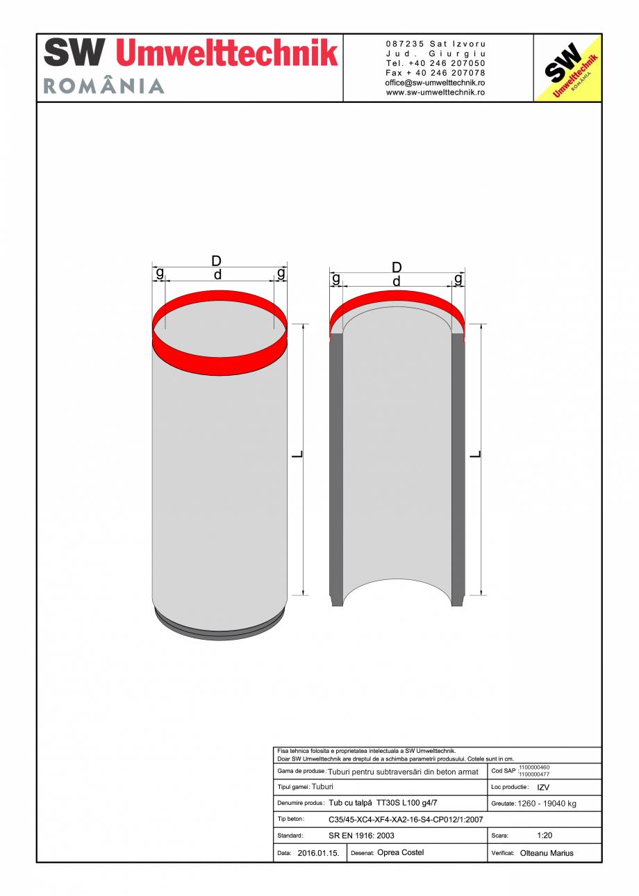 Pagina 1 - CAD-PDF Plan deneral tub subtraversare SW UMWELTTECHNIK Detaliu de produs DN