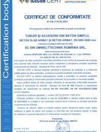 Certificat de conformitate nr 01135 - tuburi din beton armat - DN 500-3000