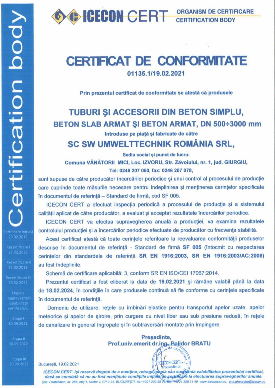 Pagina 1 - Certificat de conformitate nr 01135 - tuburi din beton armat - DN 500-3000 SW...