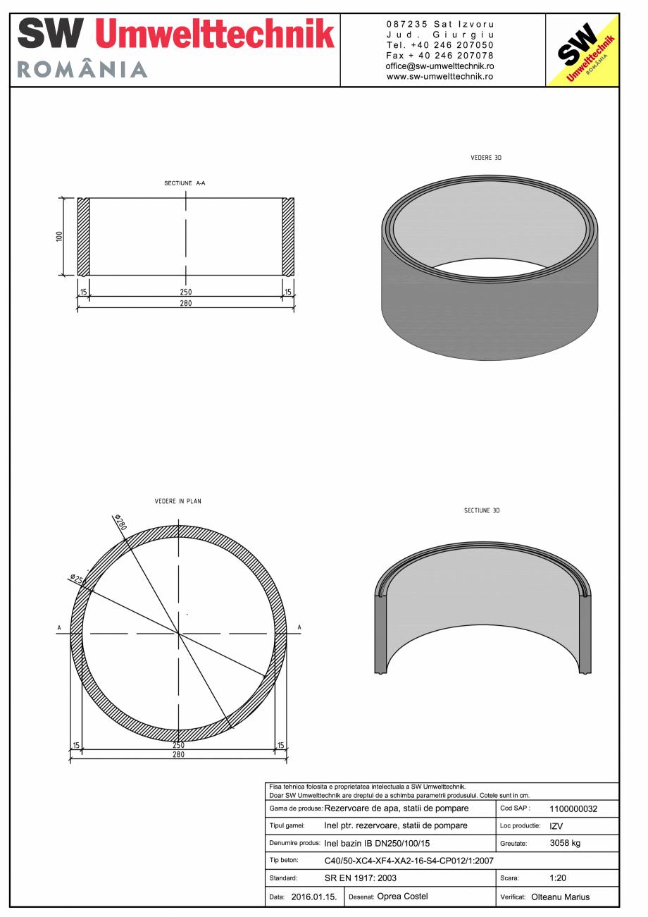 Pagina 1 - CAD-PDF Inel bazin IB DN250/100/15 SW UMWELTTECHNIK Detaliu de produs