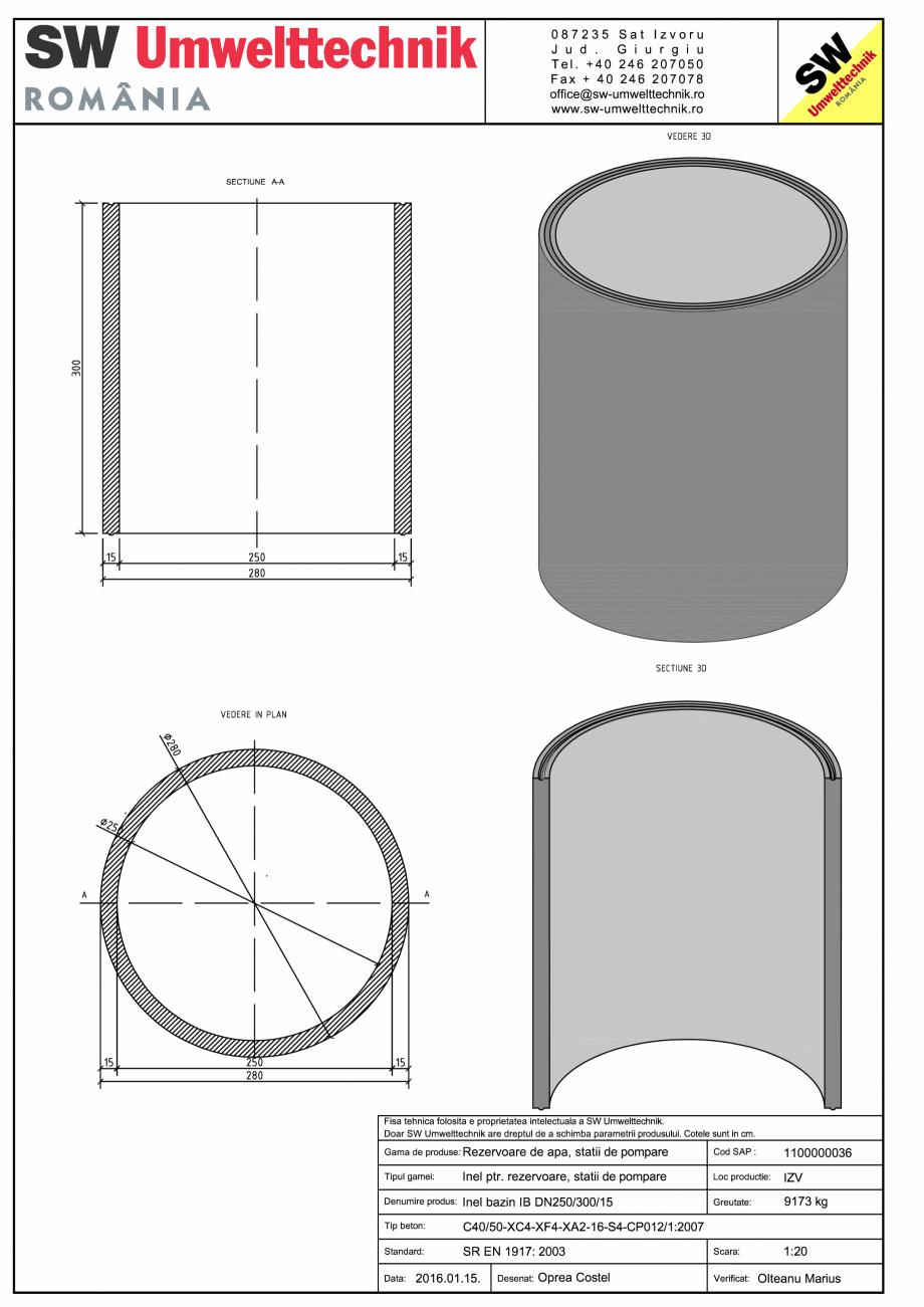 Pagina 1 - CAD-PDF Inel bazin IB DN250/300/15 SW UMWELTTECHNIK Detaliu de produs