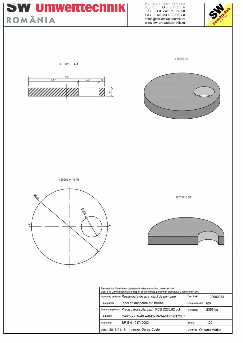 Pagina 1 - CAD-PDF Placa carosabila bazin PCB D230/25 SW UMWELTTECHNIK Detaliu de produs PCB-PNB