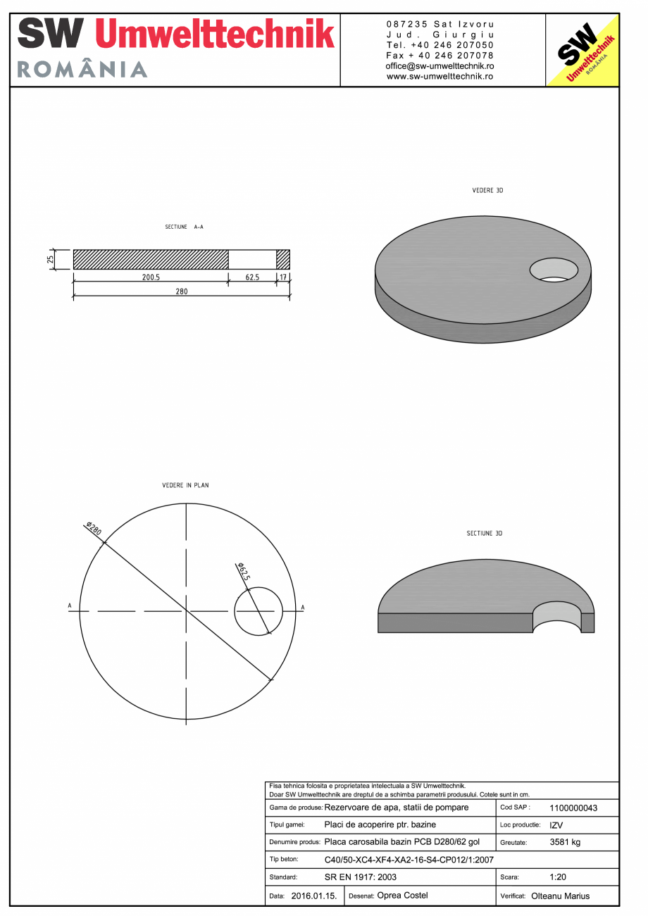 Pagina 1 - CAD-PDF Placa carosabila bazin PCB D280/25 SW UMWELTTECHNIK Detaliu de produs PCB-PNB