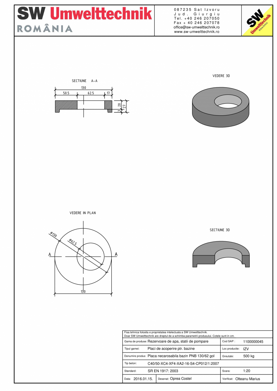 Pagina 1 - CAD-PDF Placa necarosabila bazin PNB D130/20 SW UMWELTTECHNIK Detaliu de produs PCB-PNB