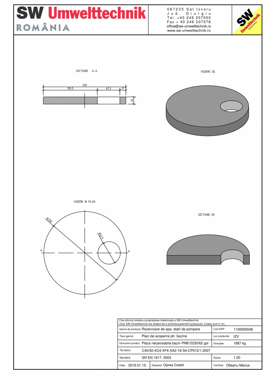 Pagina 1 - CAD-PDF Placa necarosabila bazin PNB D230/20 SW UMWELTTECHNIK Detaliu de produs PCB-PNB