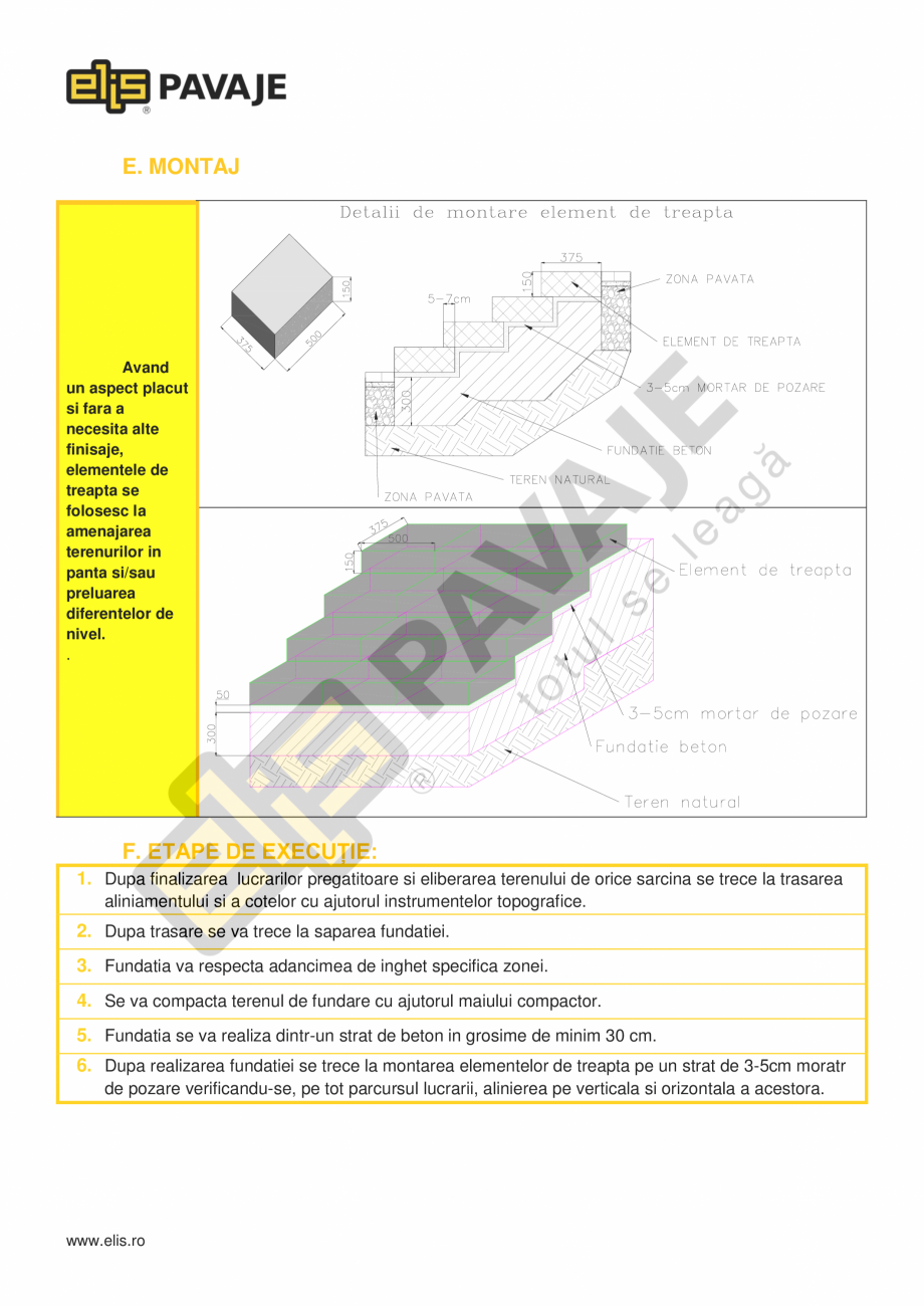 """Pagina 3 - Borduri ELIS PAVAJE Element treapta splitat Fisa tehnica Romana  beton""""  Caracteristici..."""