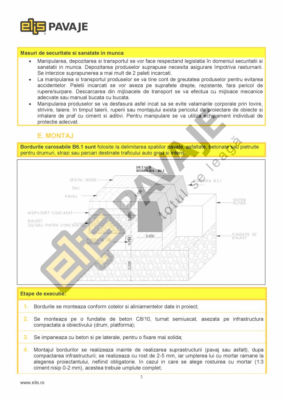 Pagina 3 - Bordura ELIS PAVAJE B6.1 Fisa tehnica Romana   Performanta la foc  Clasa A1 dupa reactia ...