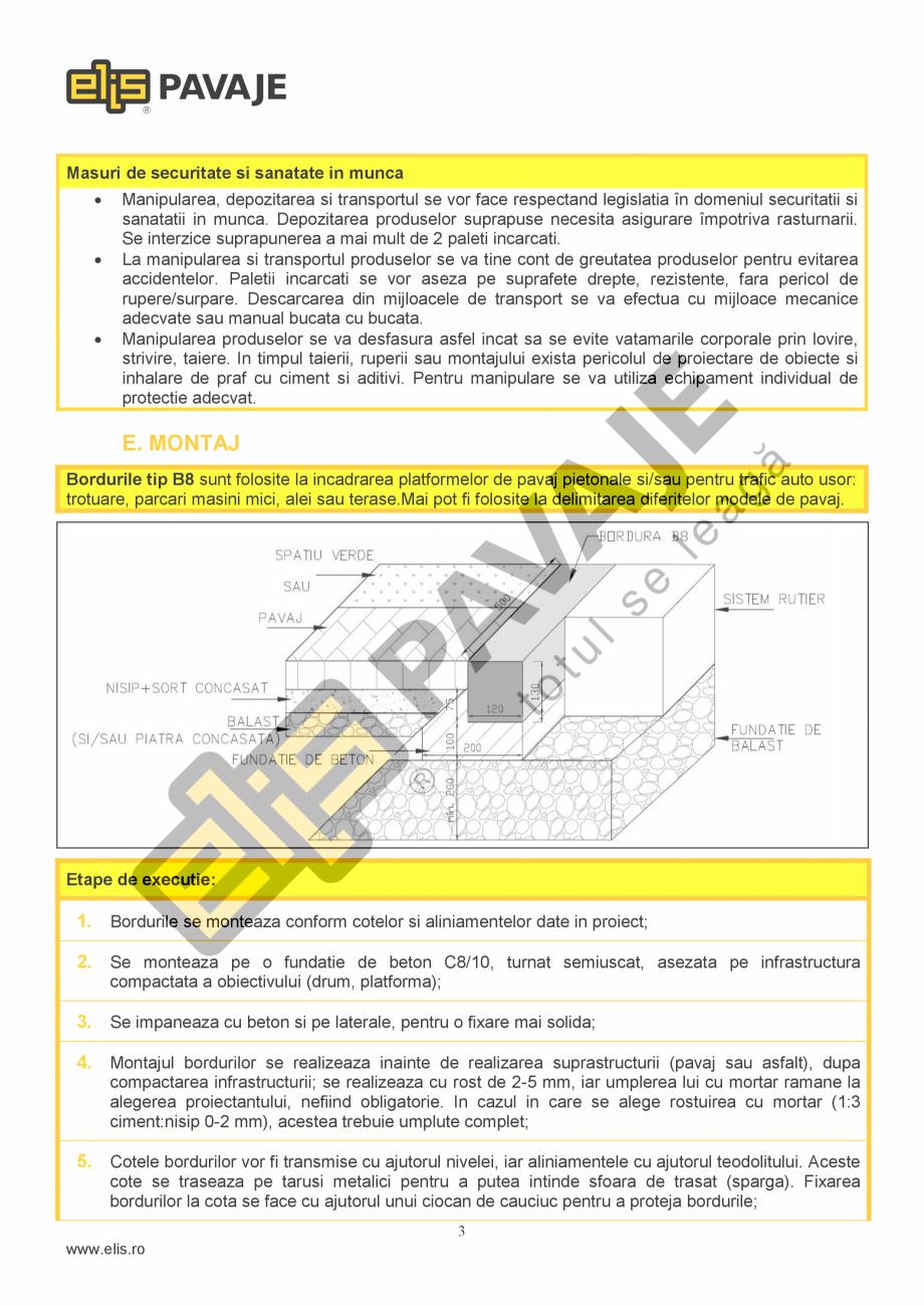 Pagina 3 - Bordura ELIS PAVAJE B8 Fisa tehnica Romana Performanta la foc  Clasa A1 dupa reactia la...