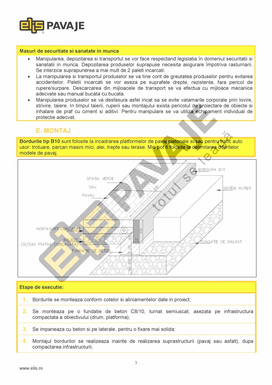 Pagina 3 - Bordura ELIS PAVAJE B10 Fisa tehnica Romana lasa 1, marcare S, tip: B1, B5, B8, B4, B10 5...