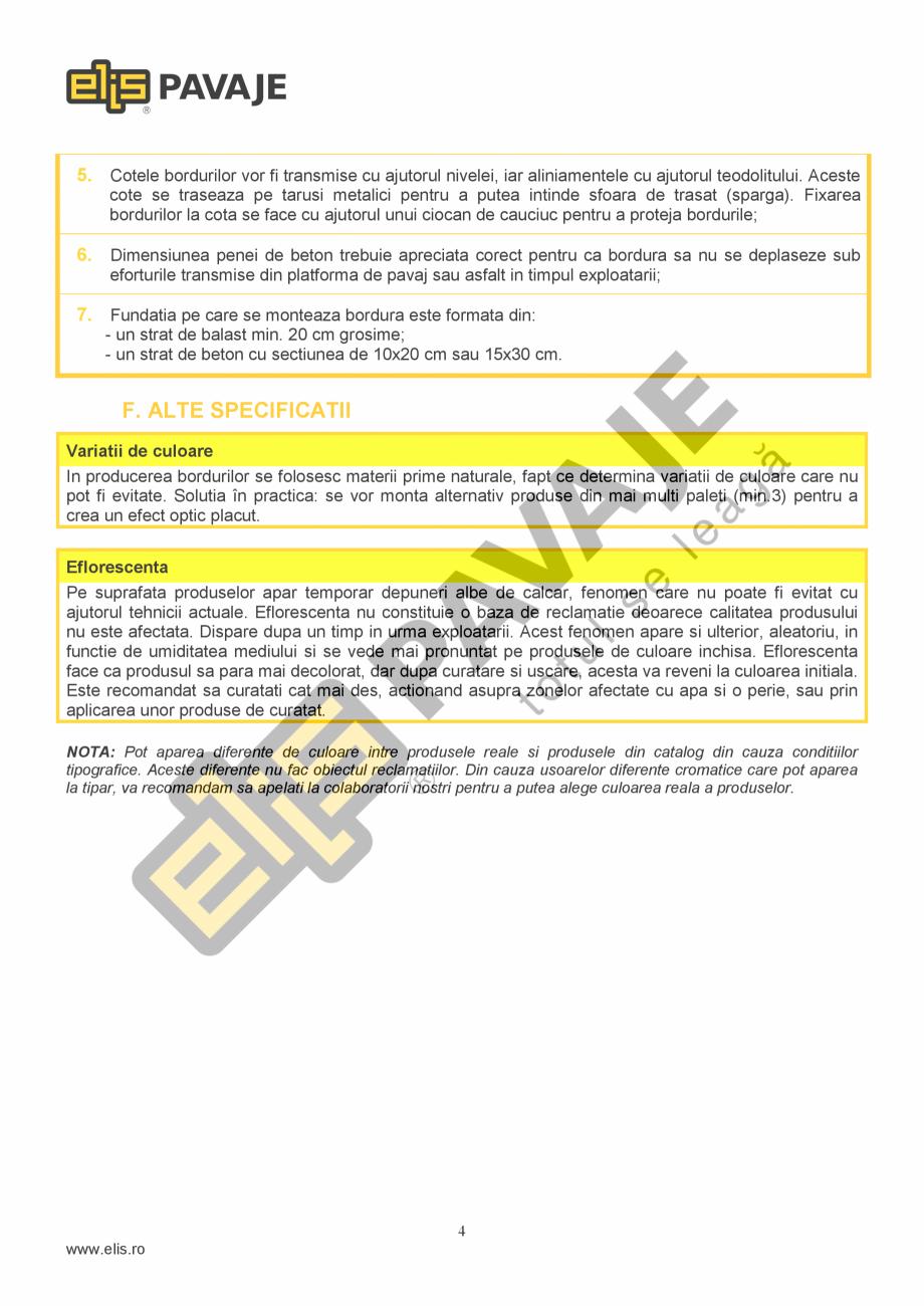 Pagina 4 - Bordura ELIS PAVAJE B10 Fisa tehnica Romana Ambalajele (folia de plastic, banda PET,...