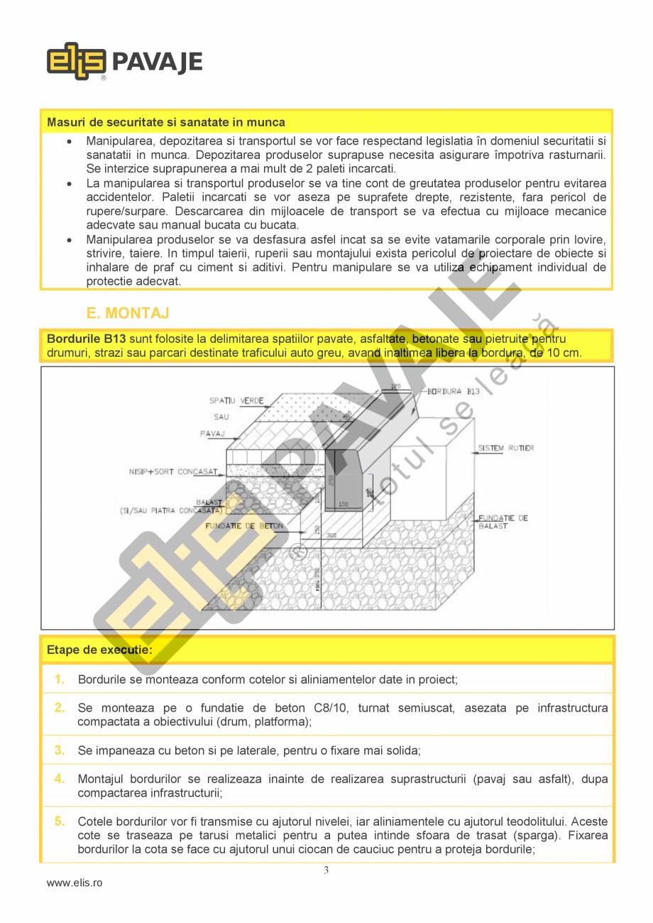 Pagina 3 - Bordura ELIS PAVAJE B13 Fisa tehnica Romana  Performanta la foc  Clasa A1 dupa reactia la...
