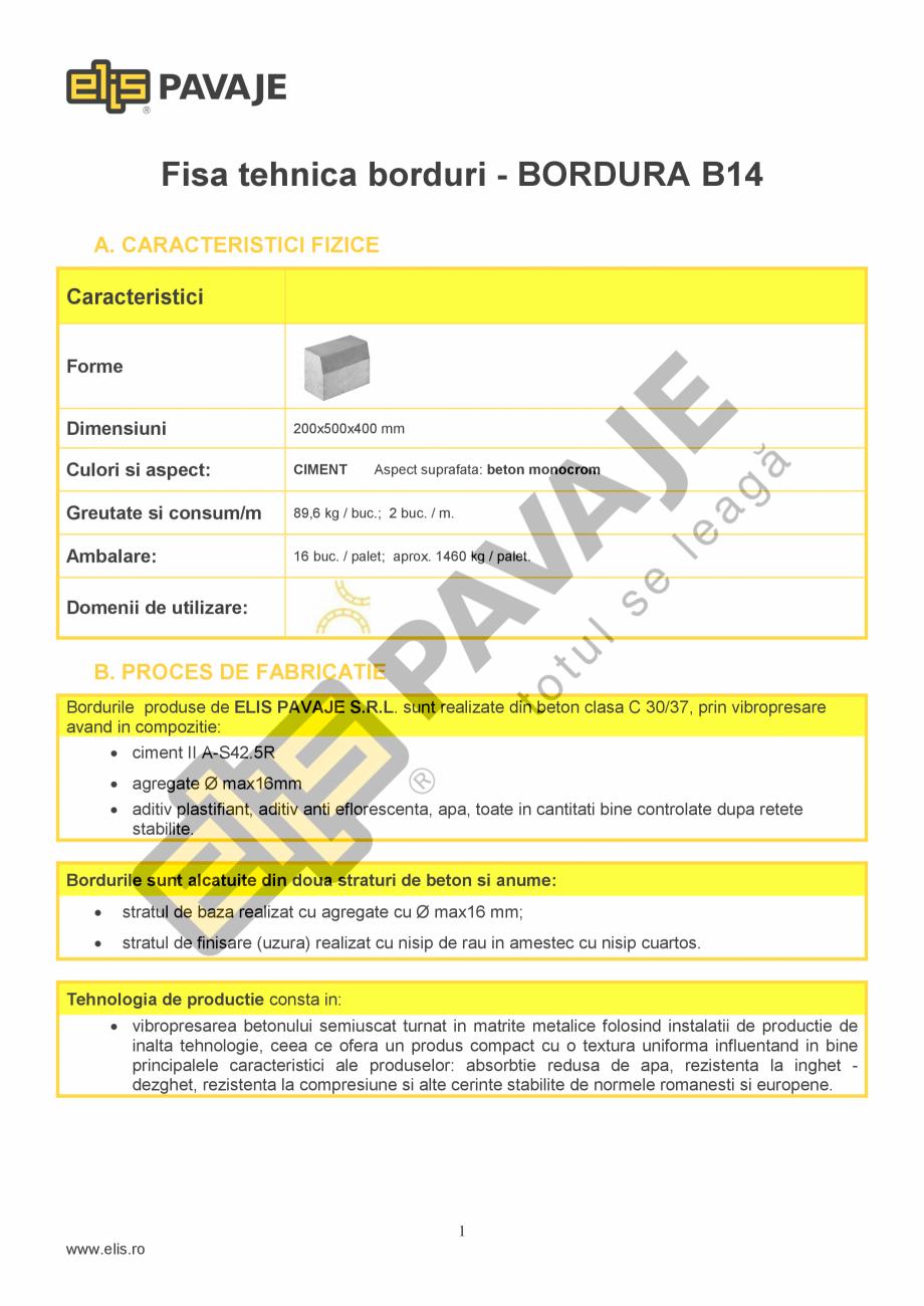 Pagina 1 - Bordura ELIS PAVAJE B14 Fisa tehnica Romana Fisa tehnica borduri - BORDURA B14 A....