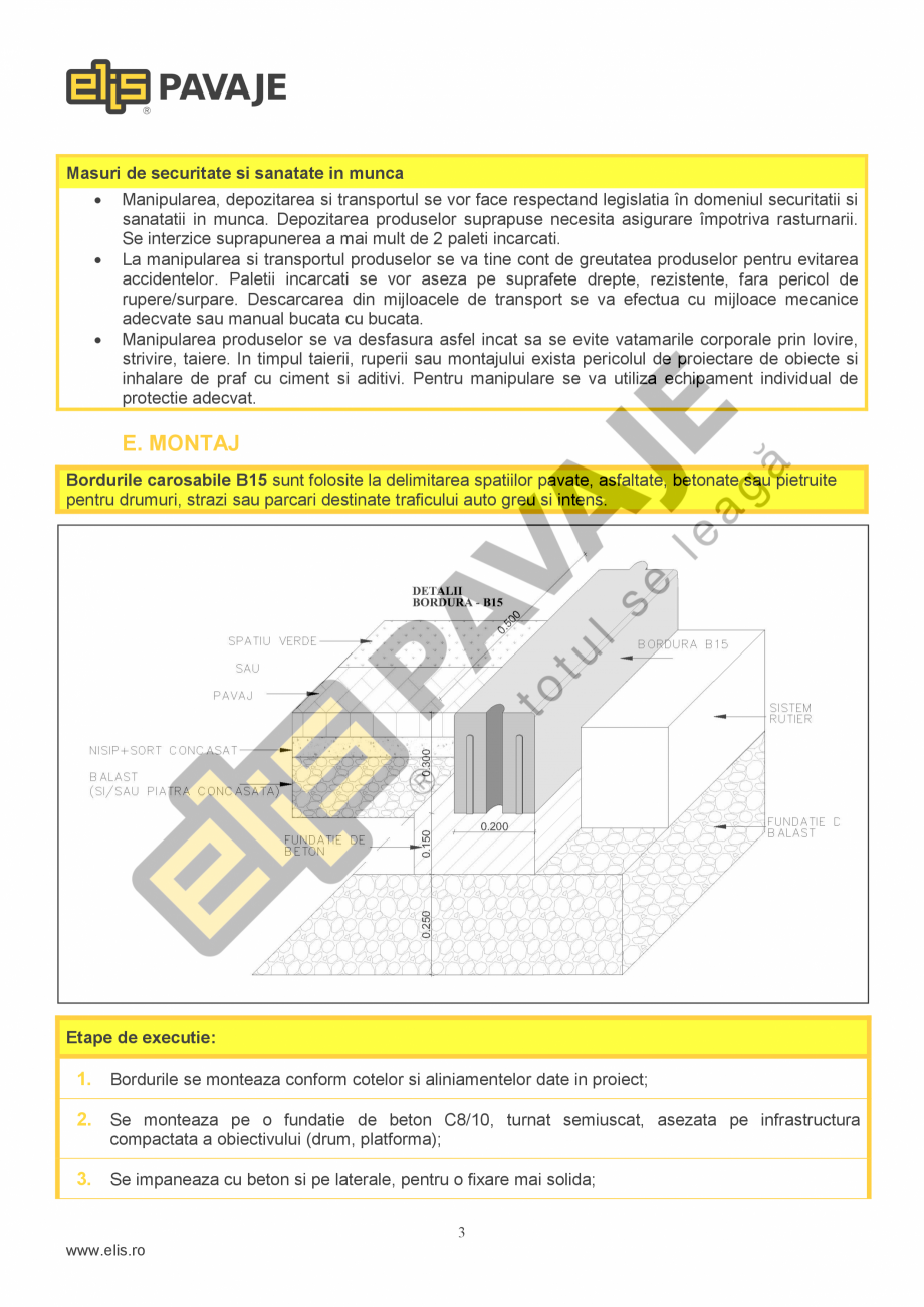 Pagina 3 - Bordura ELIS PAVAJE B15 Fisa tehnica Romana 5.0 MPa, clasa 2, marcare T, tip: B2, B9, B12...