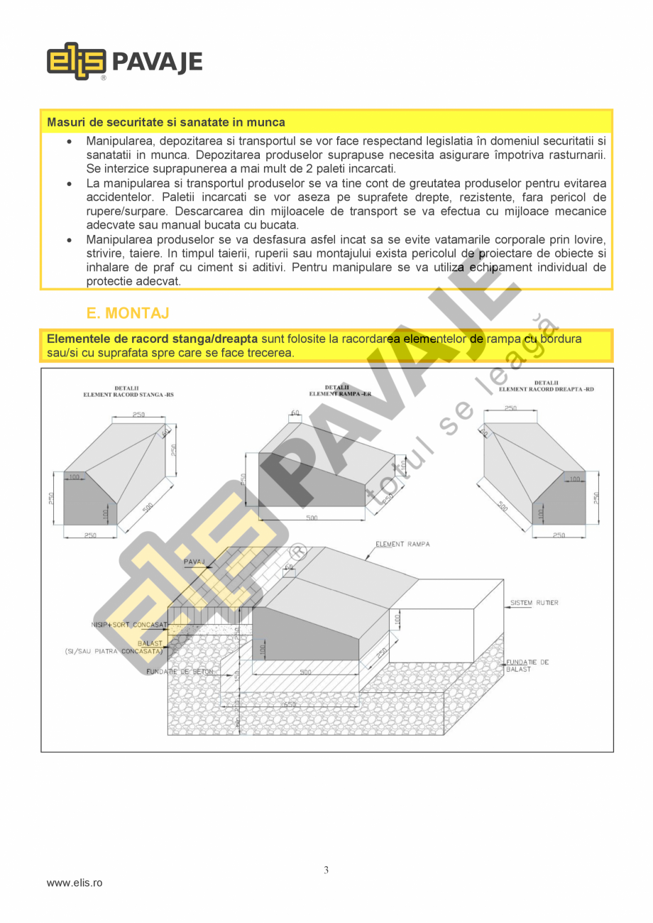 Pagina 3 - Borduri ELIS PAVAJE Elemente racord dreapta, Elemente racord stanga Fisa tehnica Romana...
