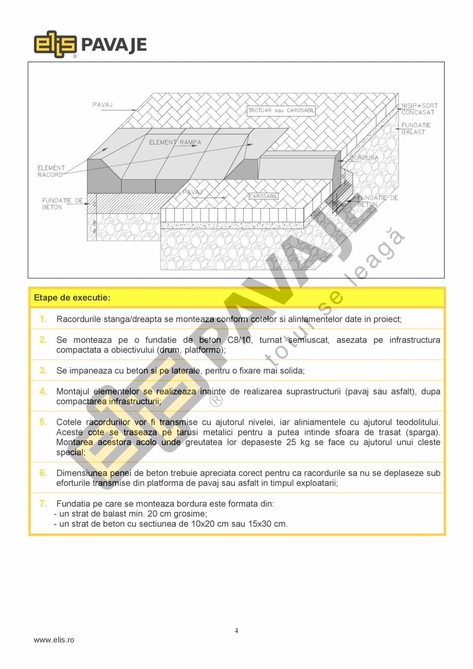 Pagina 4 - Borduri ELIS PAVAJE Elemente racord dreapta, Elemente racord stanga Fisa tehnica Romana e...