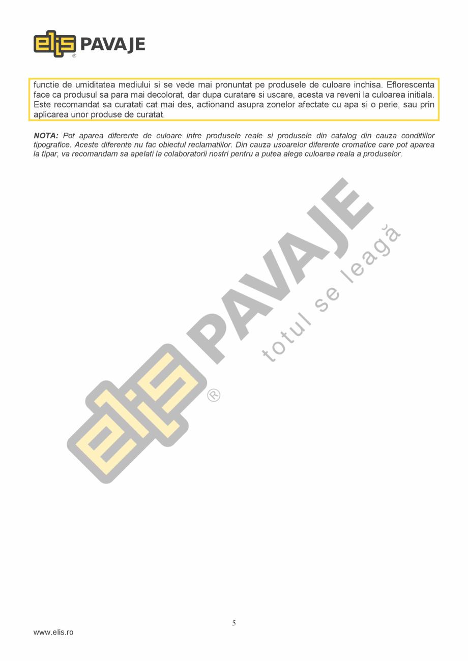 Pagina 5 - Bordura ELIS PAVAJE Element rampa Fisa tehnica Romana a. Depozitarea produselor suprapuse...