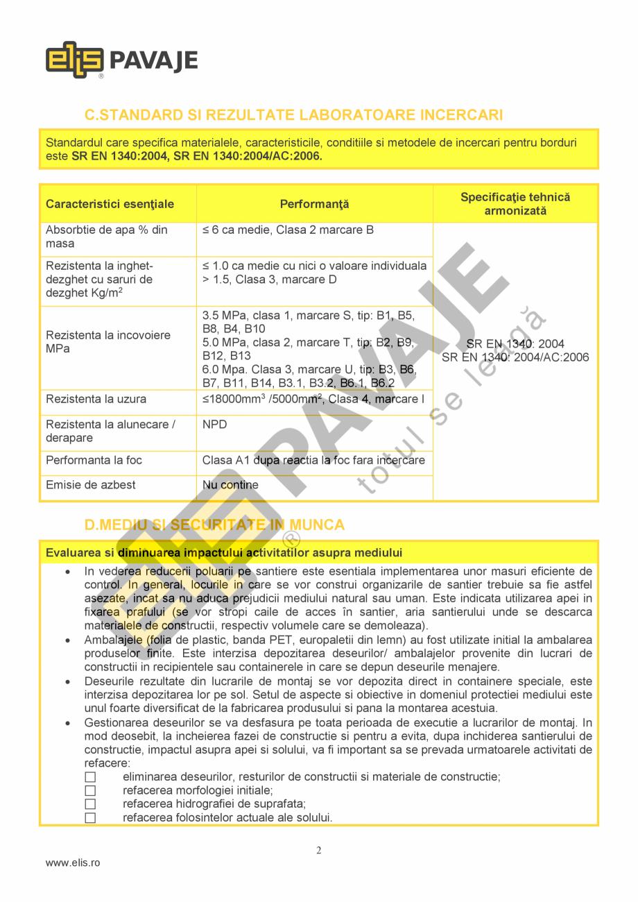 Pagina 2 - Bordura ELIS PAVAJE Bordura cilindrica Fisa tehnica Romana  stratul de finisare, exceptie...