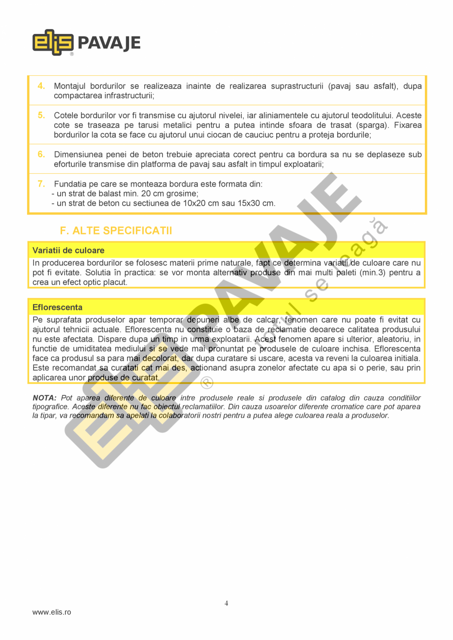 Pagina 4 - Bordura ELIS PAVAJE Bordura cilindrica Fisa tehnica Romana spectiv volumele care se...