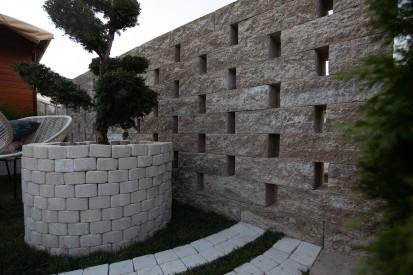 Bloc de zid cafe vazut de aproape Premium Blocuri de zid