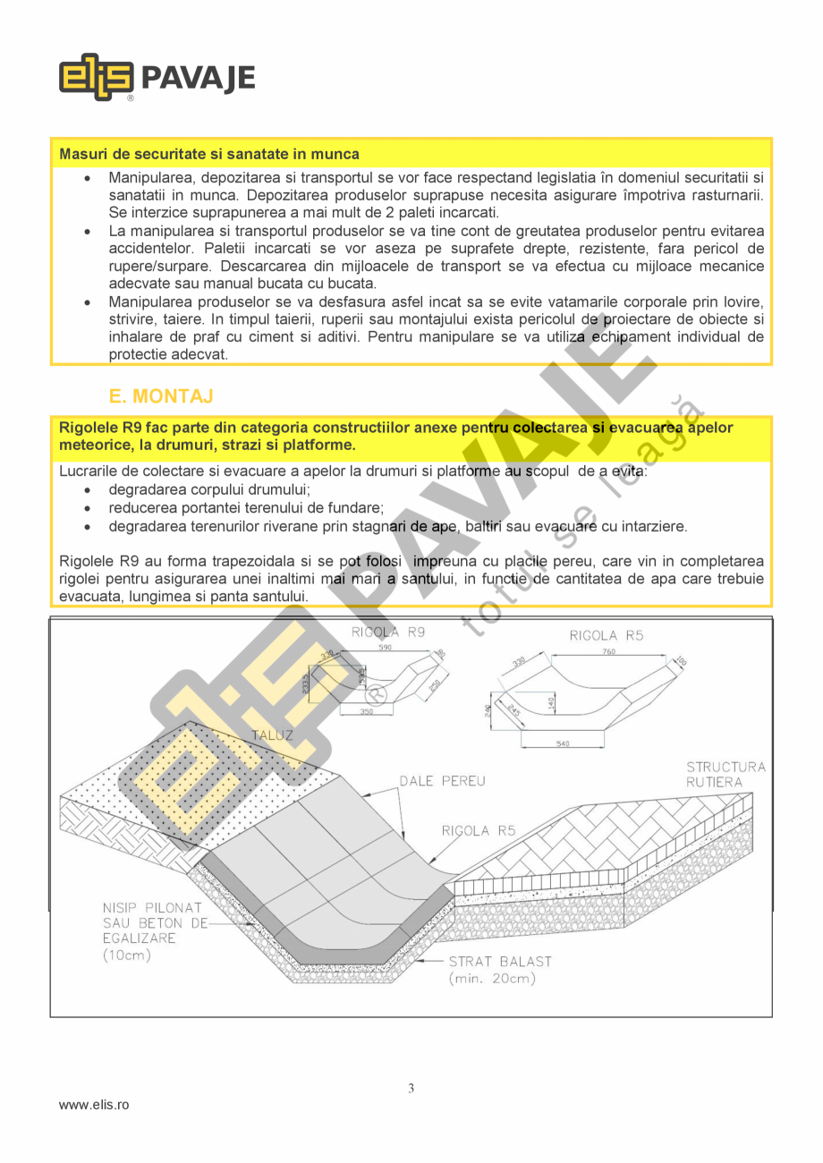 Pagina 3 - Sant trapezoidal prefabricat din beton ELIS PAVAJE R9 Fisa tehnica Romana uala > 2, ...