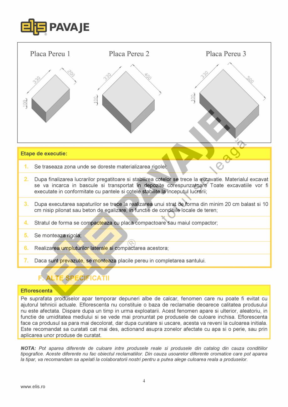 Pagina 4 - Sant trapezoidal prefabricat din beton ELIS PAVAJE R9 Fisa tehnica Romana epun deseurile ...