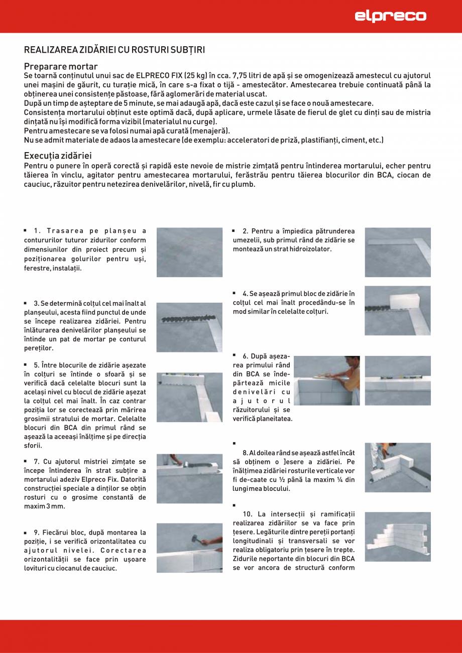Pagina 1 - Realizarea zidariei din BCA cu rosturi subtiri ELPRECO IZOPOR, TERMOPOR, AEROPOR,...