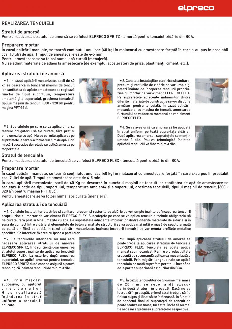 Pagina 1 - Tencuirea zidariei din BCA ELPRECO IZOPOR, TERMOPOR, AEROPOR, STRUCTOPOR Instructiuni...