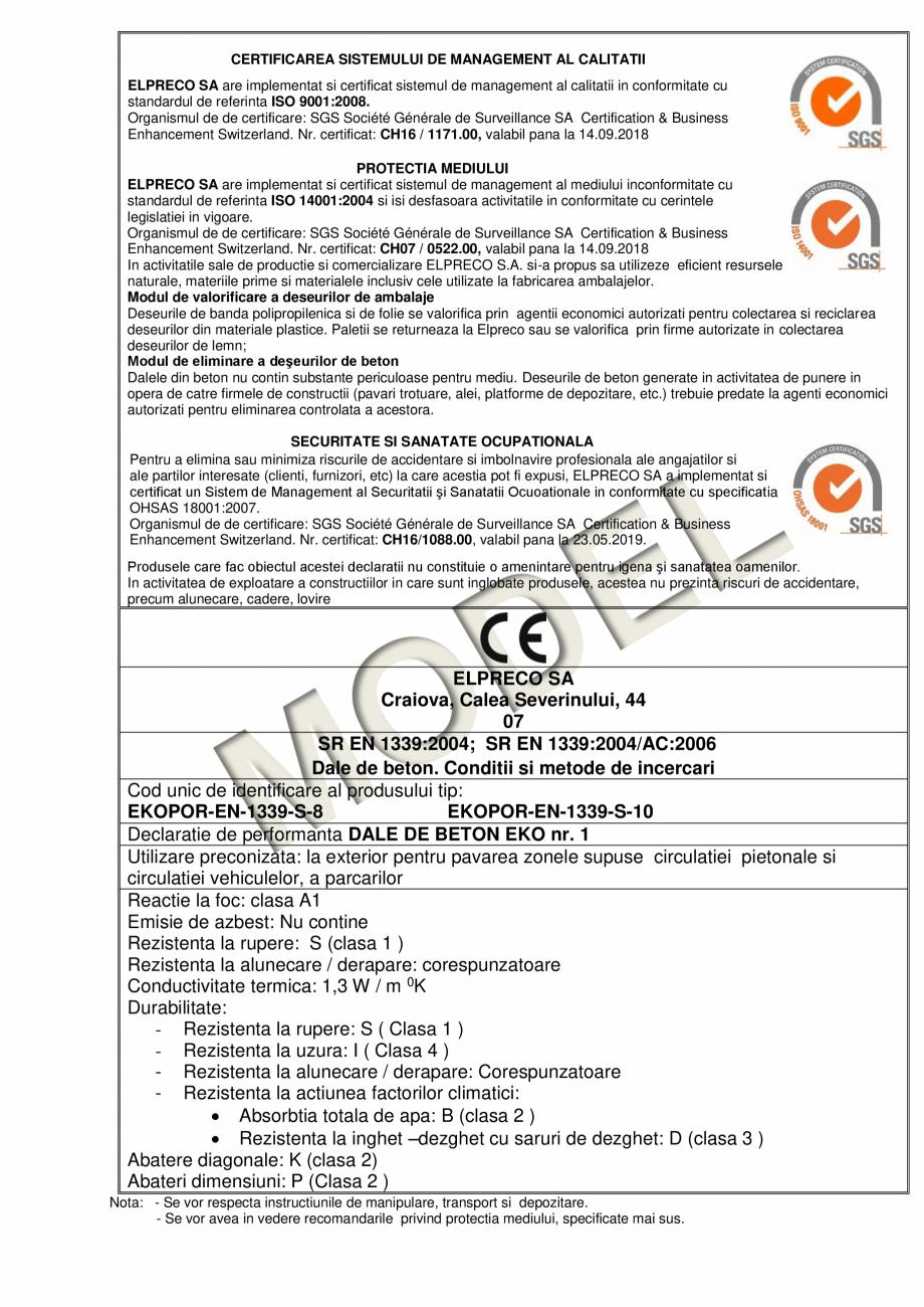 Pagina 2 - Dale din beton - Declaratie de performanta ELPRECO EKOPOR Certificare produs Romana ta la...