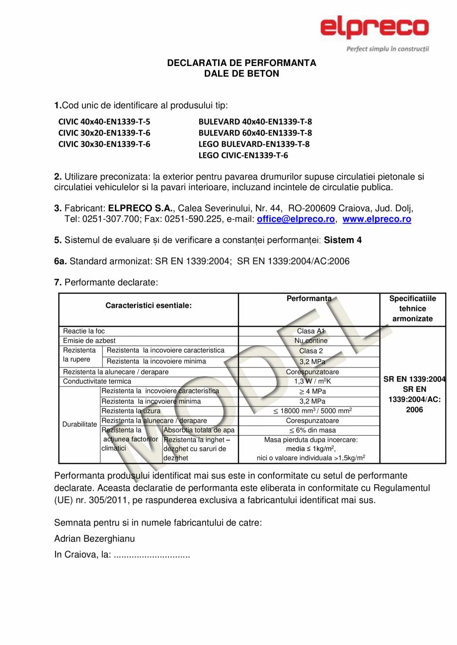 Pagina 1 - Dale din beton - Declaratie de performanta ELPRECO CIVIC, BULEVARD Certificare produs...