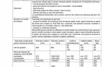 Elemente pentru camine de vizitare DN1200 ELPRECO