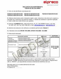 Declaratie de performanta -Tuburi D1200 / D2000