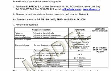 Declaratie de performanta -Tuburi D1200 / D2000 ELPRECO