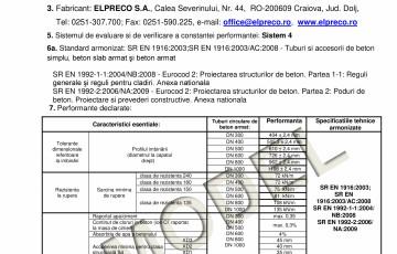 Tuburi armate podete - Declaratie de performanta ELPRECO