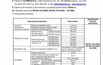 Declaratie de performanta - Tuburi D300 / D1000 ELPRECO