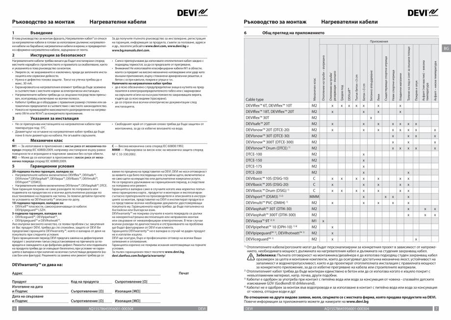 Pagina 4 - Ghid de instalare - cabluri de incalzire DEVI Instructiuni montaj, utilizare Bulgara,...