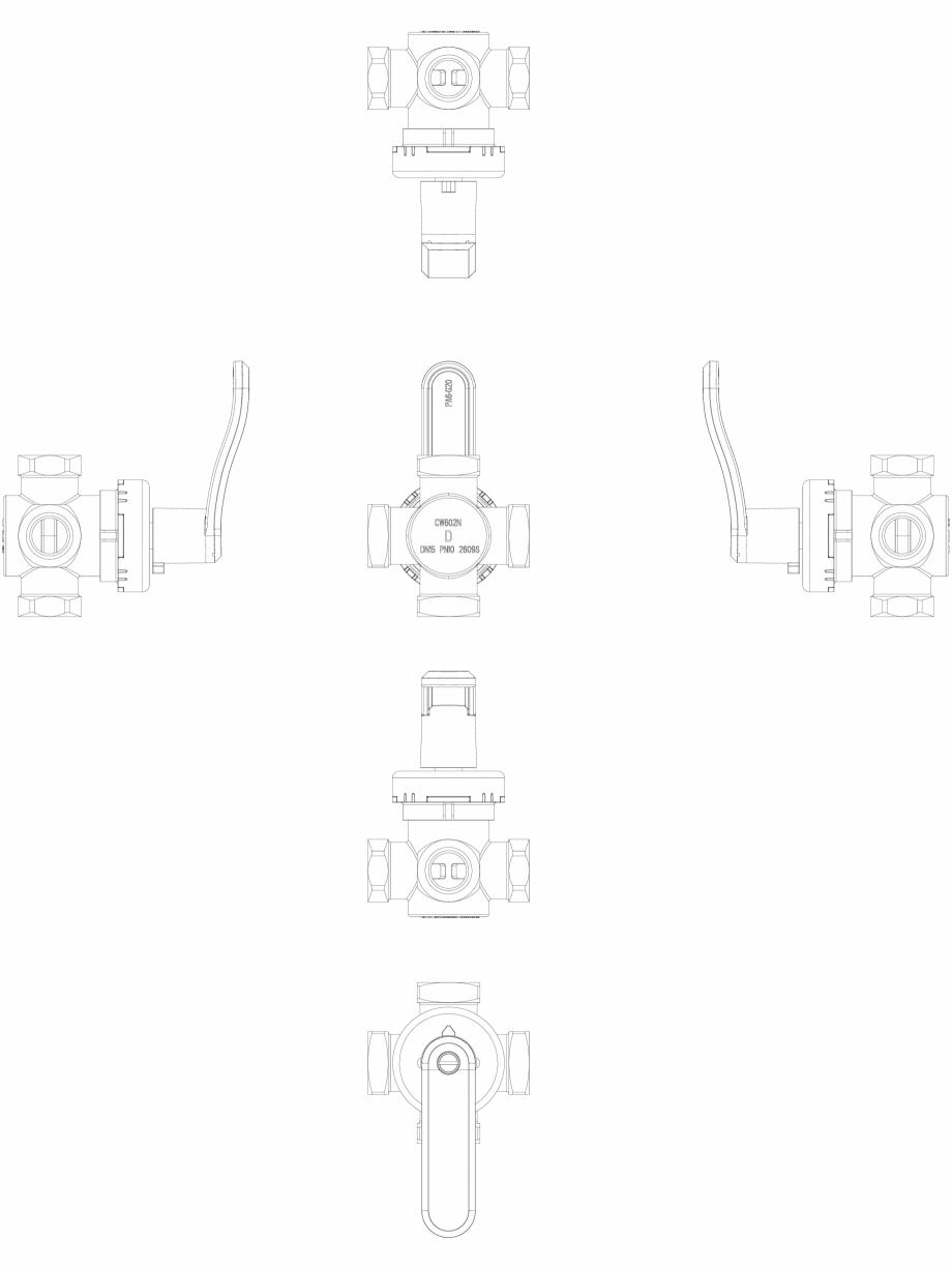 Pagina 1 - CAD-DWG 2D CAD - vana rotativa cu 4 cai DANFOSS Detaliu de produs HRB 4