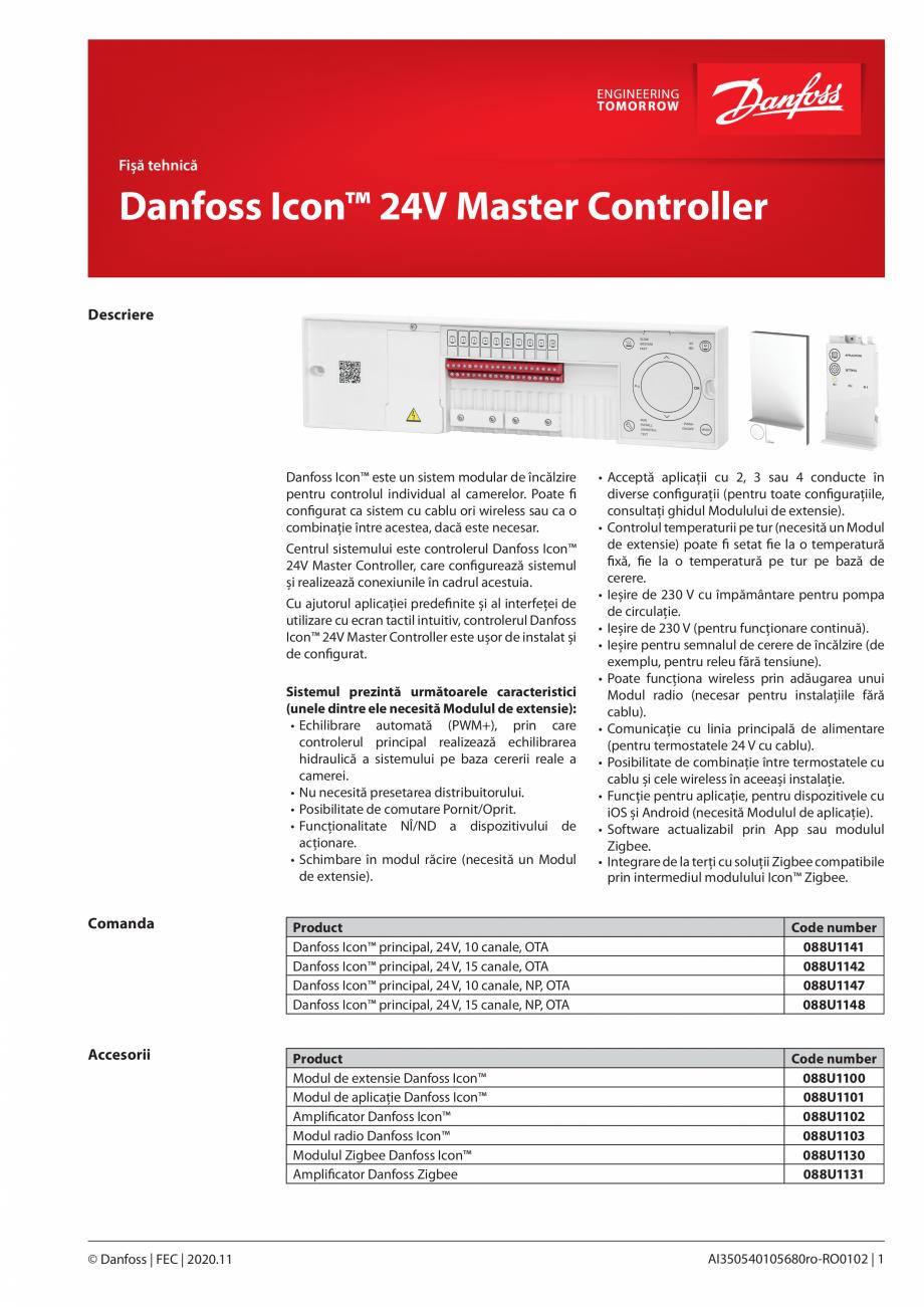 Pagina 1 - Unitatea centrala de control - sistem inteligent de incalzire DANFOSS Icon™ Fisa...