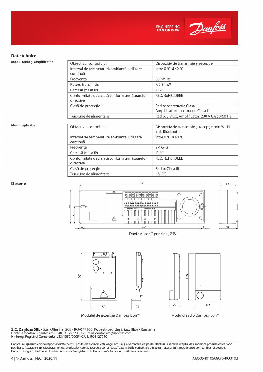 Pagina 4 - Unitatea centrala de control - sistem inteligent de incalzire DANFOSS Icon™ Fisa...