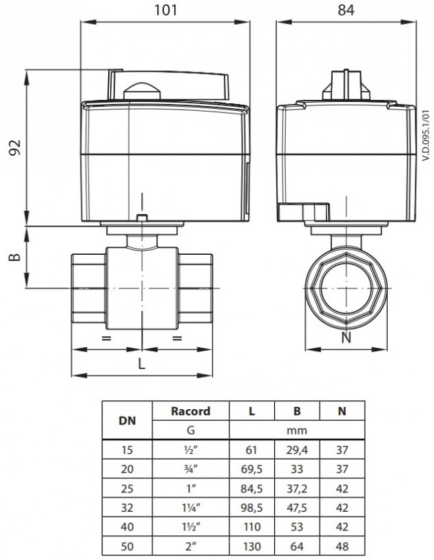 Schiță dimensiuni Vana zonala ON/OFF - AMZ 112