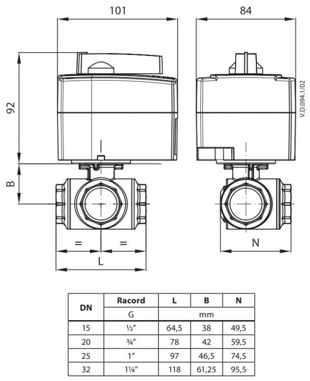 Schiță dimensiuni Vana zonala ON/OFF - AMZ 113