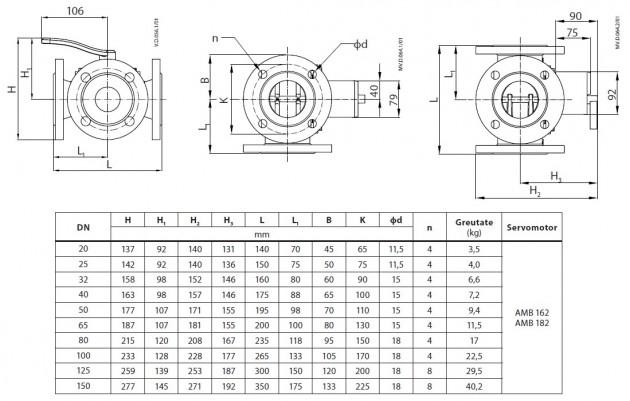 Schiță dimensiuni Vana rotativa - HFE 3