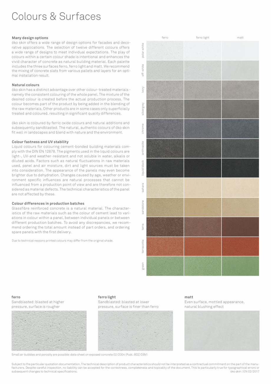 Pagina 3 - Placi din beton aparent RIEDER Oko Skin Fisa tehnica Engleza l colours on request. ...