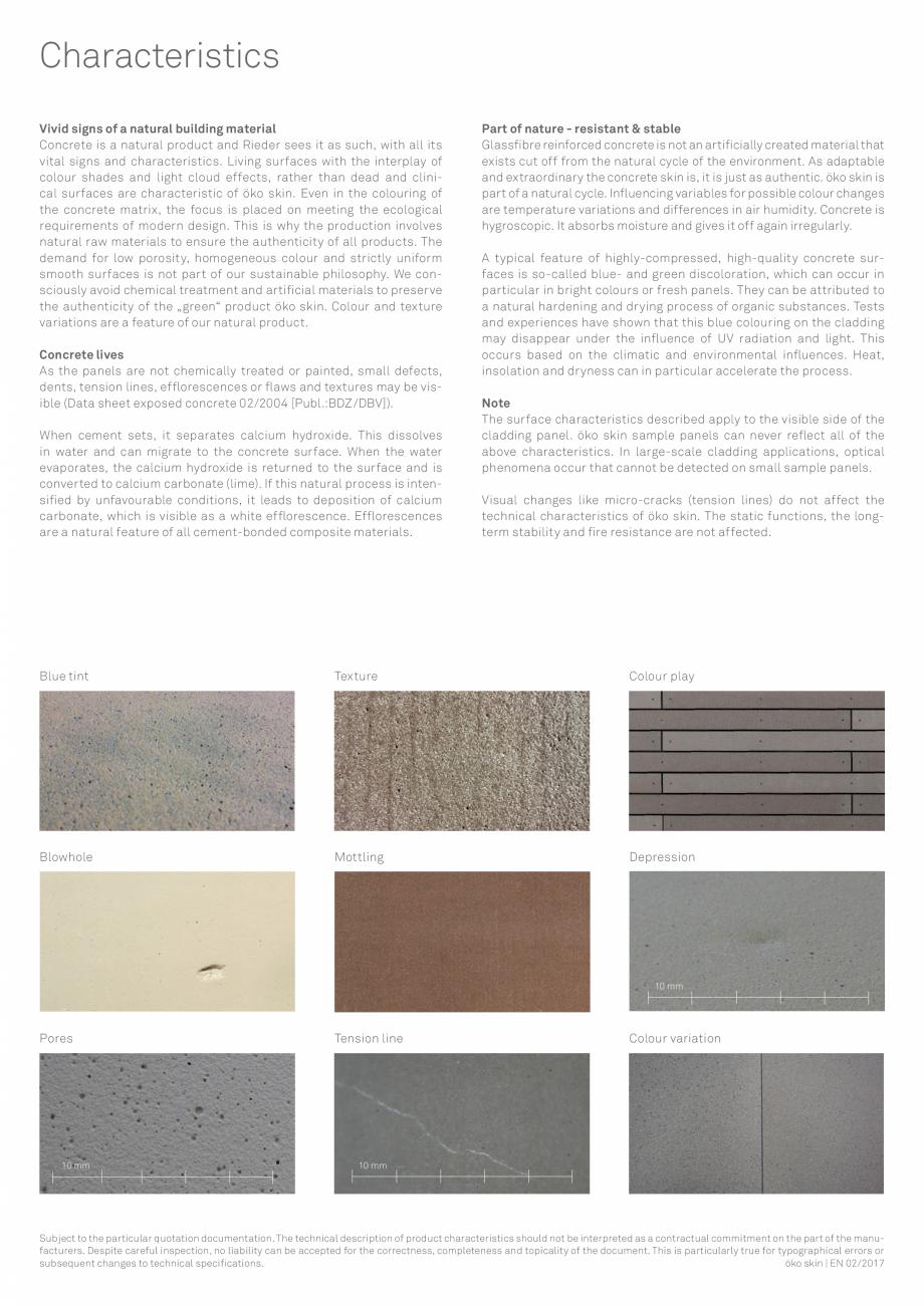 Pagina 4 - Placi din beton aparent RIEDER Oko Skin Fisa tehnica Engleza s a contractual commitment...
