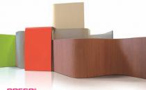 Elemente curbate din HPL pentru fatade si interioare Elemente curbate ABET LAMINATI realizate din placi HPL cu finisaj decor, ce pot fi realizate in toata gama de finisaje disponibila pentru placile HPL cu finisaj decor Abet Laminati/MEG, la grosimi de 2 mm - 10 mm.