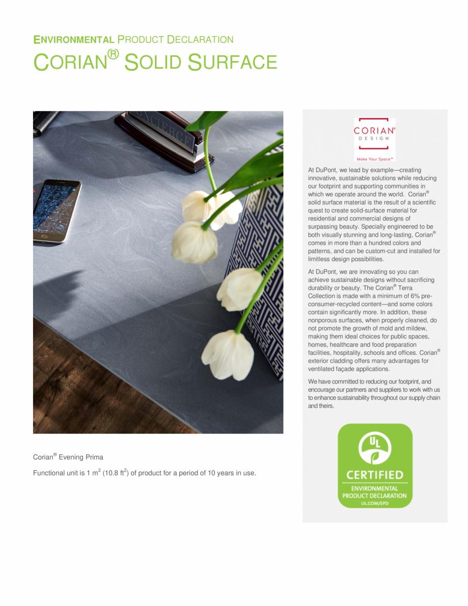 Pagina 1 - Declaratie de mediu pentru placi minerale pentru interioare CORIAN® Solid Surface ...